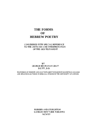 The Forms of Hebrew Poetry