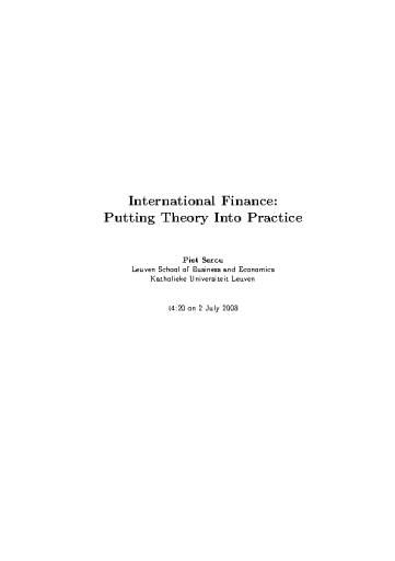 International Finance: Putting Theory Into Practice