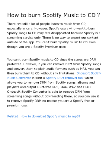 How to burn Spotify Music to CD?
