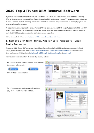 2020 Top 3 iTunes DRM Removal Software