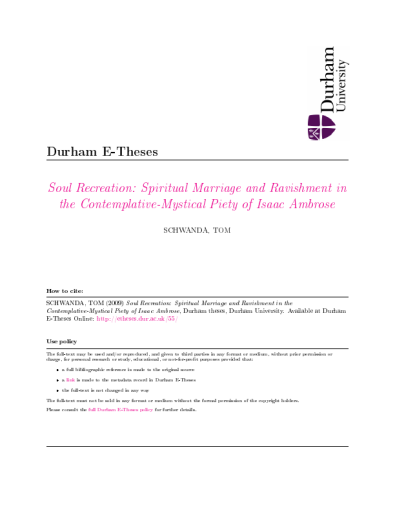 Spiritual Marriage and - Durham e-Theses - Durham University