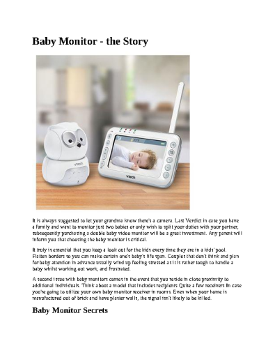 A Secret Weapon for Baby Monitors