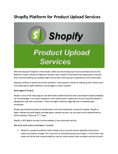 Shopfiy Platform for Product Upload Services