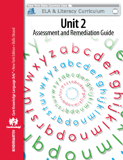 Kindergarden Unit 2 Assessment and Remediation Guide