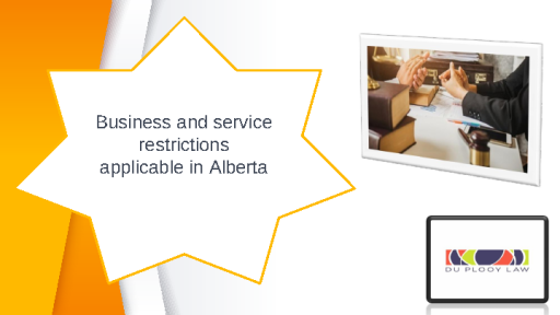 Business and service restrictions applicable in Alberta