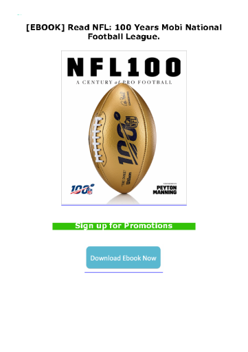 [EBOOK] Read NFL: 100 Years Mobi National Football League.
